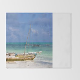 Lonely Boat Throw Blanket