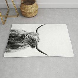 Black & White Highland Scotland Cow  Rug