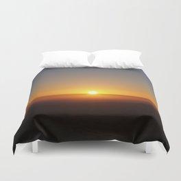 Sunset over moorland hills Duvet Cover