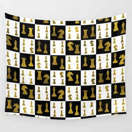 Chessboard and Gold Chess Pieces pattern Wall Tapestry