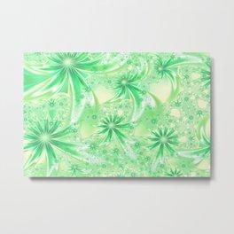 Pastel Green Wildflowers Metal Print