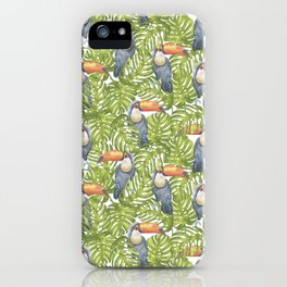 Watercolor Toucan Parrots And Jungle Leaves Pattern iPhone Case