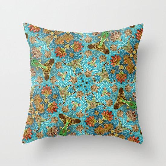 Indian Floral Throw Pillow
