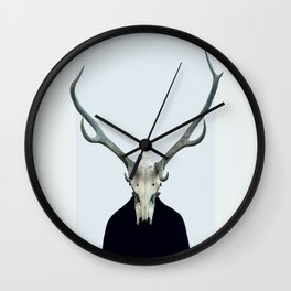 Living Skull and Horns Wall Clock