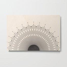 Black Sunburst Minimal Sun, Radiant Sun, Abstract Geometric Art, Mid Century Boho Decor Metal Print