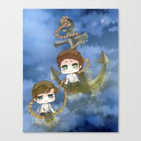 larry stylinson Canvas Prints featuring Larry Stylinson - Anchor and rope by Yorlenisama