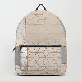 Golden Pastel Marble Geometric Design Backpack