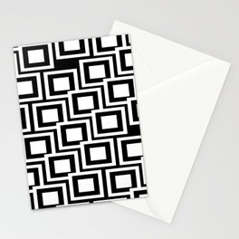 Black and White Squares Pattern 02 Stationery Cards