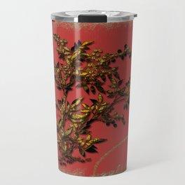 Golden flower on red Travel Mug