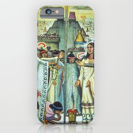 The Meeting of Monteczuma, Malinche, & Cortés 1521, Tenochtitlán by Diego Rivera iPhone Case