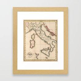 Vintage Map of Italy (1815) Framed Art Print