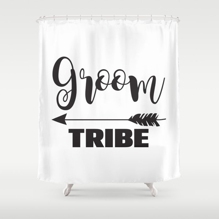 Groom Tribe Arrow Bride Bridal Party Bridesmaid Groomsmen Bachelor Bachelorette Shower Curtain