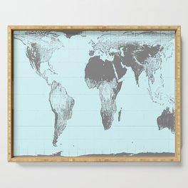 World Map : Gall Peters Aqua Serving Tray