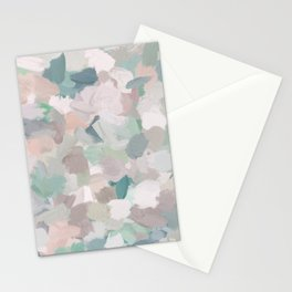 Mint Seafoam Green Dusty Rose Blush Pink Abstract Nature Flower Wall Art, Spring Painting Print Stationery Cards