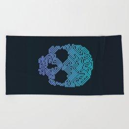 Labyrinthine Skull - Neon Beach Towel