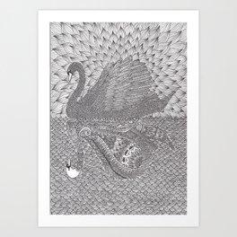 Mirrored Swan Art Print