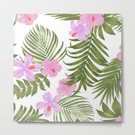 Modern pink green palm tree tropical floral Metal Print