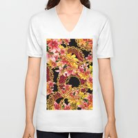 versace V-neck T-shirts featuring Chained in Gold  Flowers by Dave Higs