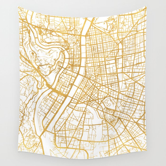 Lyon France City Street Map Art Wall Tapestry By Deificusart Society6
