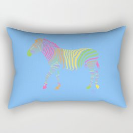 Zebra 6B Blue Background Rectangular Pillow