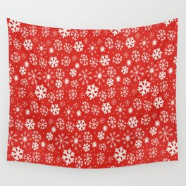 Snowflake Snowstorm With Poppy Red Background Wall Tapestry