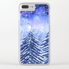 pine forest under galaxy Clear iPhone Case
