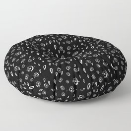 Black and White Abstract Paisley Floor Pillow