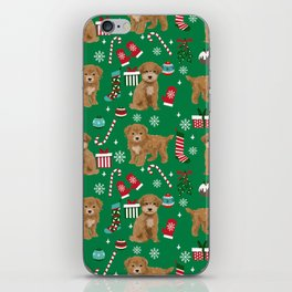 Bichpoo christmas dog breed holidays pet gifts pet friendly stockings candy canes snowflakes iPhone Skin