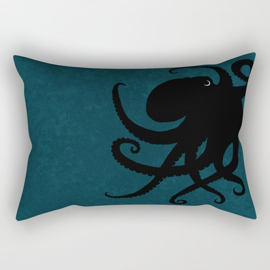 """Octopus Silhouette"" digital illustration by Amber Marine, (c) 2015 Rectangular Pillow"