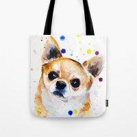 chihuahua Tote Bags featuring Chihuahua by Slaveika Aladjova