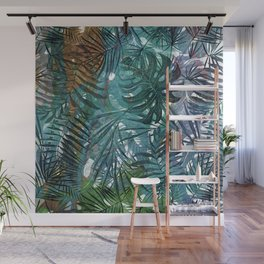 Aloha - Tropical Palm Leaves and Monstera Leaf Garden Wall Mural