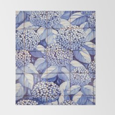 Floral tiles Throw Blanket