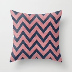 pink and navy chevron Throw Pillow