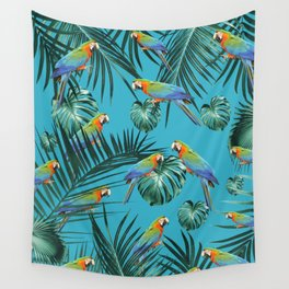 Parrots in the Tropical Jungle #2 #tropical #decor #art #society6 Wall Tapestry