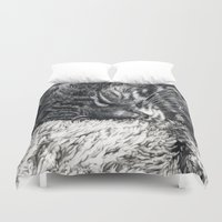 charlie brown Duvet Covers featuring Charlie by Lucy Schmidt Art