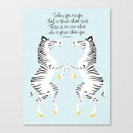 Two Zebras (Dr. Seuss) Blue Canvas Print