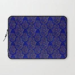 Hamsa Hand pattern - gold on lapis lazuli Laptop Sleeve