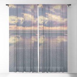 Stormy Beach Sunset Sheer Curtain