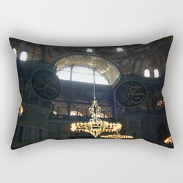 Hagia Sophia Decorated Dome and Ottoman Chandeliers Rectangular Pillow