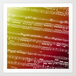 Double Bass Concerto Music on Red Art Print
