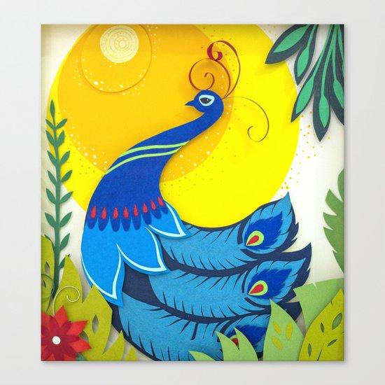 Peacock Paper Art Canvas Print