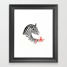 Black Zebra and Orange Bird Framed Art Print