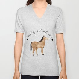 Head Up And Heels Down Gifts Horse Lovers Racing Unisex V-Neck