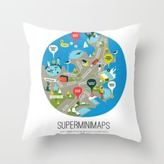 Sydney Swimming Spots Minimap by Alejandro Castillo Throw Pillow