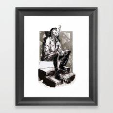 He smokes Framed Art Print