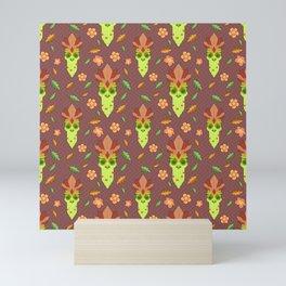 Cthulhu Tiki Mask Brown Mini Art Print