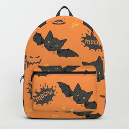 halloween bat cat doodles pattern Backpack