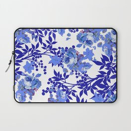 BLUE AND WHITE ROSE LEAF TOILE PATTERN Laptop Sleeve