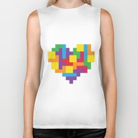 tetris Biker Tanks featuring Tetris Heart by Shannon's Sketchfest