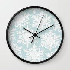 Wedgewood Blue Winter Christmas Snowflake Design Wall Clock